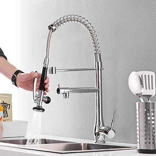Commercial Pull Down Kitchen Faucet with Sprayer - GIMILI High Arch Single Hole Single Handle Kitchen Sink Faucet,Chrome ()