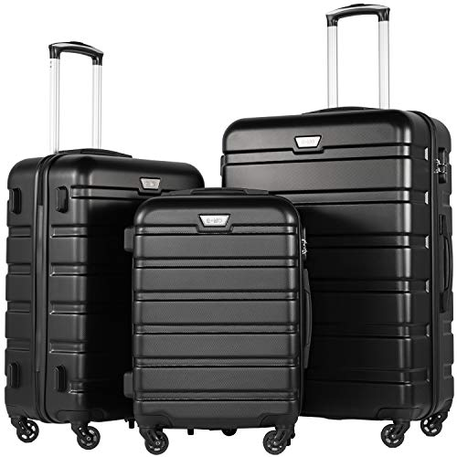 COOLIFE Luggage 3 Piece Set Suitcase Spinner Hardshell Lightweight TSA ()