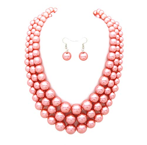 - Women's Simulated Faux Three Multi-Strand Pearl Statement Necklace and Earrings Set (Papaya Tone)