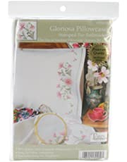 Tobin Stamped Pillowcase Pair for Embroidery, 20 by 30-Inch, Gloriosa