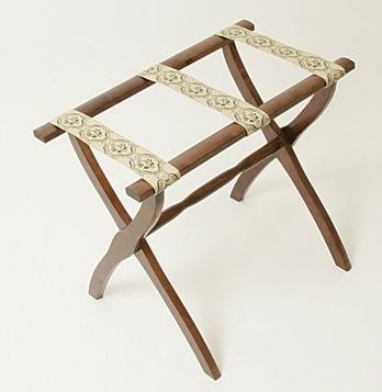 Luggage Rack with Contour Legs and 3 Braid Straps (D. Walnut) (23