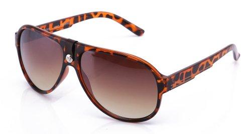 Two Tone Brown Plastic Sunglasses - IG Plastic Two Tone High Fashion Aviator Style Sunglasses in Tortoise