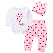 Newborn Baby Girl Outfit Cute Giraffe Print Romper Onsie Polka Dot Pants Hat Set Size 6-12 Months/Tag80 (White)