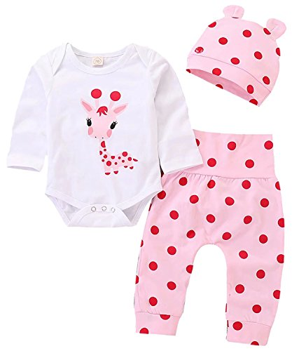EGELEXY Newborn Baby Girl Outfit Cute Giraffe Print Romper Onsie Polka Dot Pants Hat Set Size 12-18 Months/Tag90 (White)