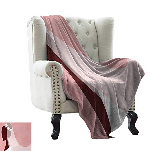 BelleAckerman Weighted Blanket for Kids Bridal Shower,Bride in Wedding Dress on Pink Backdrop with Veil Celebration Image,Light Pink and White Comfortable Soft Material,give You Great Sleep -