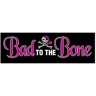 "Pirate Sticker, Bad to The Bone, Skull & Crossbones Orignal Art Decor, Nautical Pirates Decal - 3.5"" x 11"": Automotive"