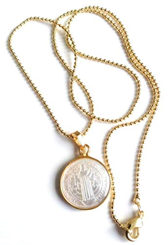 - Small Mother of Pearl Saint Benedict Medal 18k Gold Plated Ball Chain 17 Inches