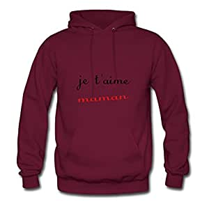 Ebolam X-large Regular Burgundy Sweatshirts - Je T'aime Maman Painting,women