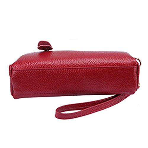 with Wallets Women Card Slots Red Clutch Elegant Girls Leather Handbag Purses qw1qFAp0