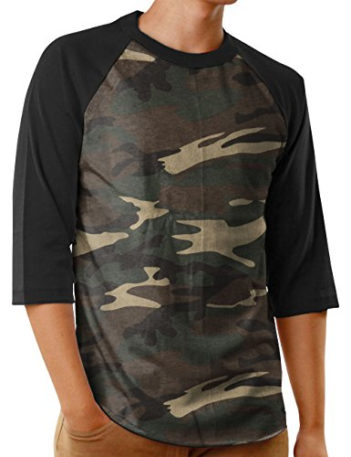 Hat and Beyond Mens Baseball Jersey Button Down T Shirts Hipster Plain Hip Hop 1UPA02 (X-Large,SK Camouflage/Black) ()