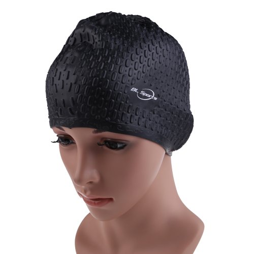 Vktech Silicone Swimming Long Hair Cap Ear Wrap Waterproof Hat for Women and Men
