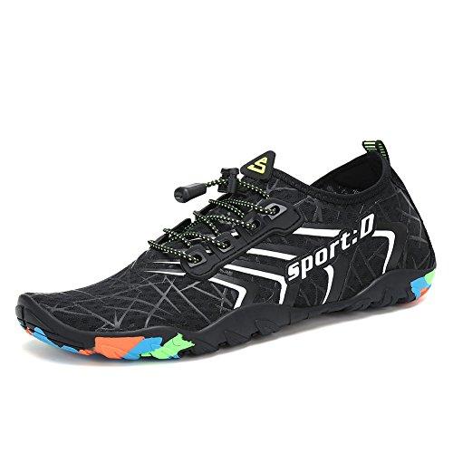 Lxso Women Men Water Shoes Quick Dry Barefoot Sports Aqua Durable Outsole Shoes for Swim Walking Yoga Beach Driving Boating (6.5US-women/5US-men=EU/FR 37, ()