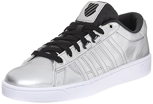 K-Swiss Women's Hoke Metallic CMF S Athletic Shoe, Silver/Black/White, 6 M US
