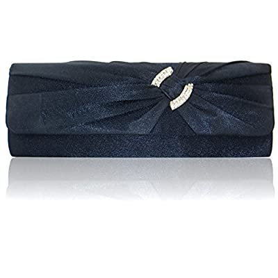 Satin Diamante Pleated Evening Clutch Bag BRIDAL WEDDING PARTY PROM 9 Colours (Navy Blue) - more-bags