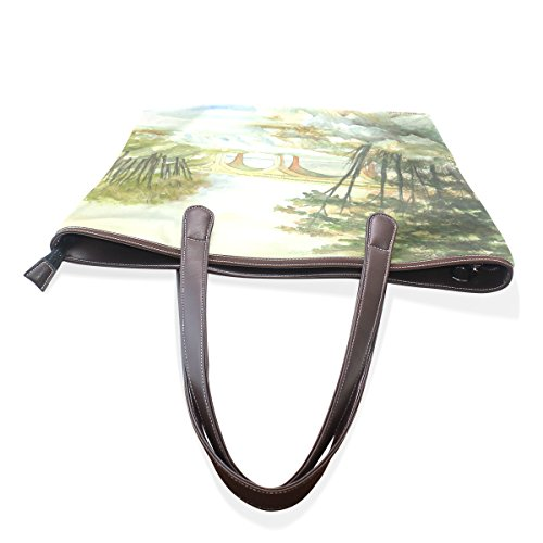 COOSUN Womens Bogenbrücke Pu Leder Große Einkaufstasche Griff Umhängetasche