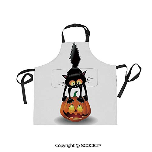 (SCOCICI Unisex Waterproof and Dirty Resistant Printing Kitchen Apron,Black Cat on Pumpkin Spooky Cartoon Characters Halloween Humor Art,for Cooking Baking)