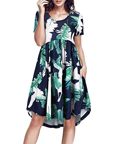 Jungle Womens Dress - II ININ Women's Round Neck Short Sleeve Loose Swing Casual Midi Dress with Pocket(Floral-2, XXL)