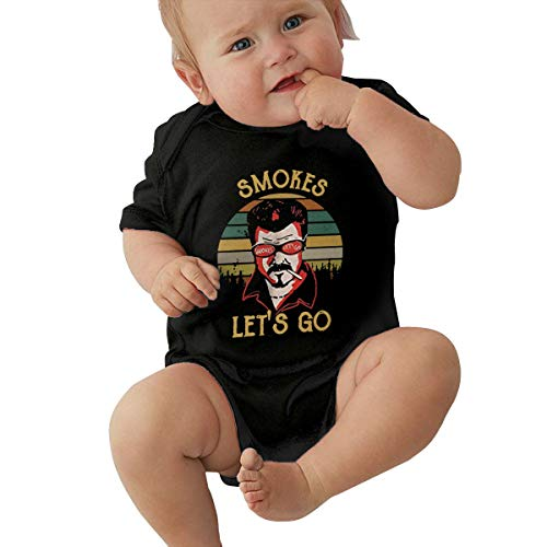 HSWQQ Smokes Let's Go 80s Style Baby Crawling Suit Leotard 6M Black -