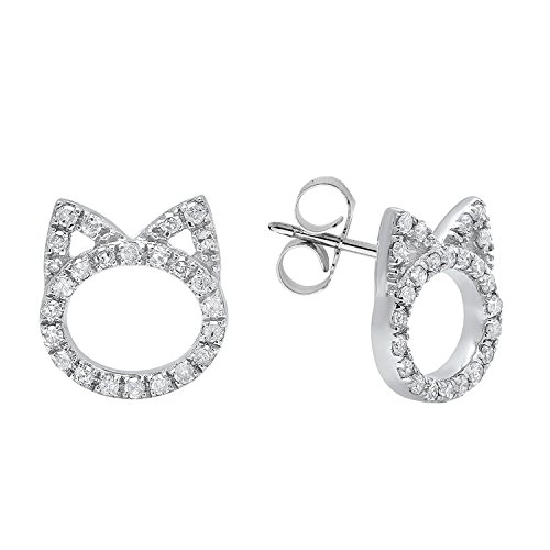 Dazzlingrock Collection 0.25 Carat (ctw) 14K Round White Diamond Ladies Cat Stud Earrings 1/4 CT, White Gold