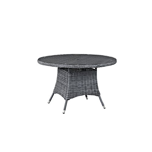 Modway Summon Round Outdoor Patio Glass Top Round Dining Table, 47″, Grey Review