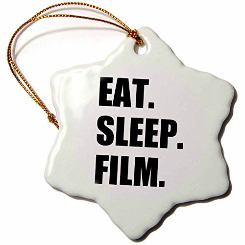3dRose orn_180402_1 Eat Sleep Film-Gifts for Movie Makers and Video Making Enthusiasts-Snowflake Ornament, Porcelain, ()