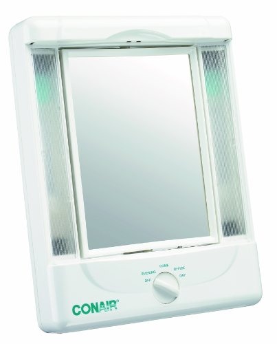 Conair Two-Sided Lighted Makeup Mirror with 4 Light Settings; 1x/5x Magnification; (Guy Makeup)