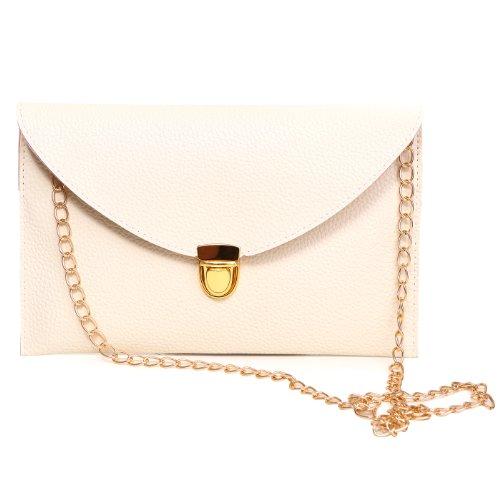 HDE Women's Envelope Clutch Purse Handbag (Cream Handbag Purse)