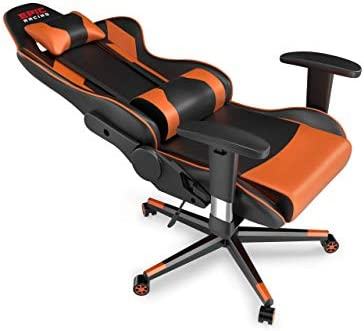 Epic Racing Professional Gaming Chair with Adjustable Height, Full Recline and Headrest/Lumbar Support (Orange)