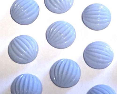 Qty 12 - Vintage 11mm Pale Blue Milk Glass Ribbed Flat Back Glass Cabochons Beads for Jewelry Making, Supply for DIY Beading Projects - Opaque Milk Glass
