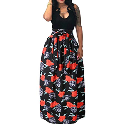 NREALY Falda Womens High Waist Vintage Printed Pleated Swing Long African Leated Beach Skirt (L, Black)]()