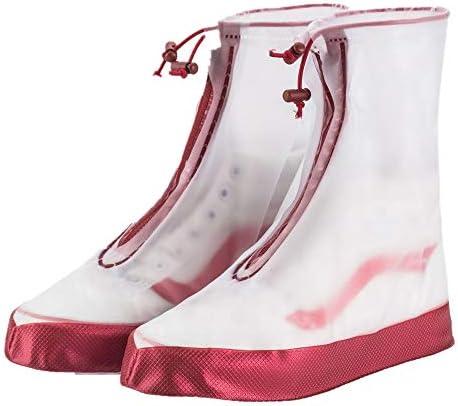 自転車靴カバー 自転車用靴の足レギンス雨雨防水シューズSHOESバイパスはブーツで再利用可能なウォッシャブル雪を滑ります 防水レインブーツ (Color : Red-children, Size : Large)