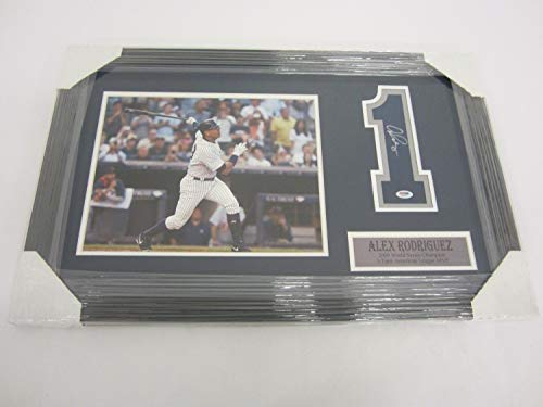 (Alex Rodriguez Ny Yankees Autographed Signed Memorabilia Framed Matted Jersey (Size XL) Number With 8x10)