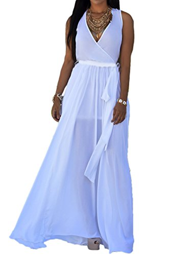 Dress Chiffon Surplice (Jumojufol Women Deep V-Neck Surplice Slit Chiffon Belted Long Beach Dress White XL)