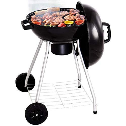Giantex Kettle Charcoal Grill w/Wheels Shelf Temperature Gauge BBQ Outdoor Backyard Cooking Black (18.5 Inch)