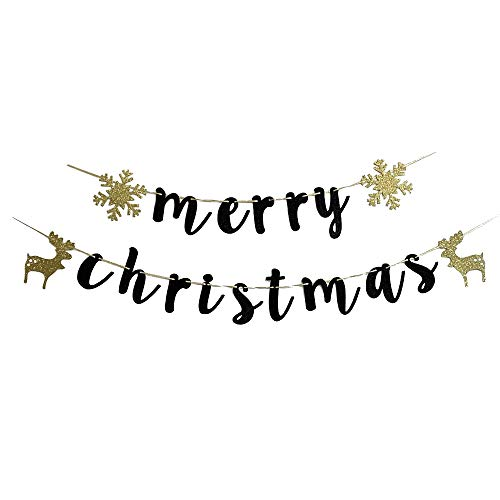 MAGQOO Black Glitter Merry Christmas Banner Christmas Party Props Bunting Home Holiday Decorations Sign ()
