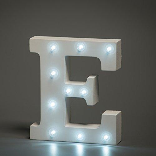 EONHUAYU Up in Lights Letra de Alfabeto de Madera MDF Blanco con Luces LED a Pilas E Carta Letras Decorativas