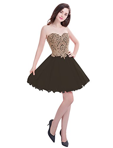 Manfei Short Prom Dress Bridesmaid Party Gowns Gold Appliques Black Size 2