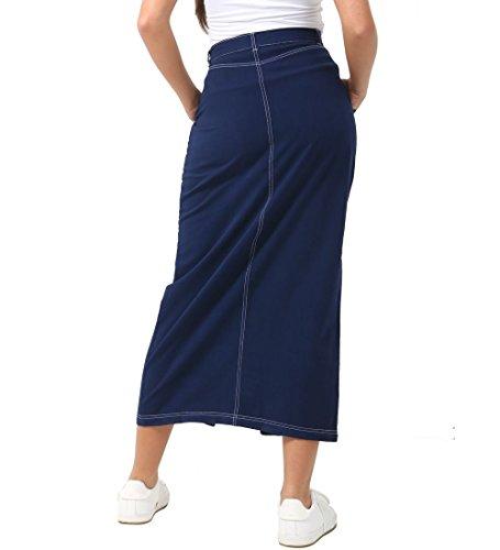 Jupes Jupe Ss7 Femmes 46 Denim Longue 36 Split Indigo Femme Nouveau De Taille Bx1q4Hw