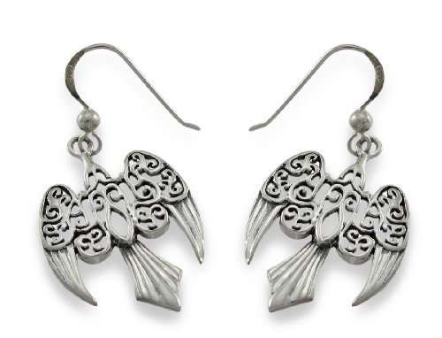 Sterling Silver Morrigan Raven Earrings Celtic Pagan