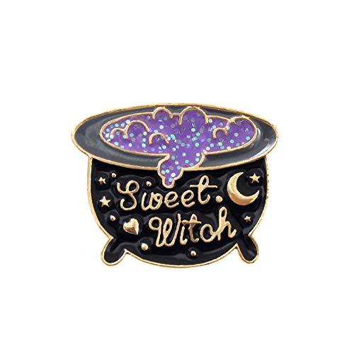 Alamana Unisex Brooch Pin, Chic Jar Witch Hat Enamel Brooch Pin Unisex Shirt Bag Hat Badge Decor 1# ()