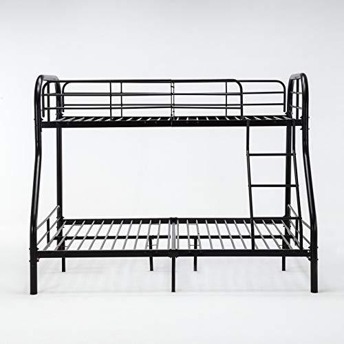Top_Quality555 Double Decker Bed Twin Over Full Metal Bunk Bed Ladder Kids Teens Adult Dorm Bedroom Furniture Black