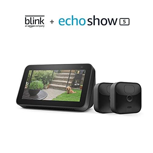 Blink Outdoor 2 Cam Kit bundle with Echo Show 5 (2nd Gen)