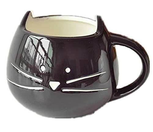 Amazon Lightning Deal 80% claimed: New Lovely Cute Little Black Cat Coffee Milk Ceramic Mug Cup Christmas Birthday Best Gift
