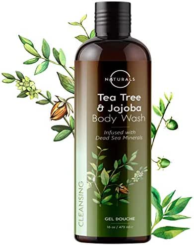 O Naturals Deep-Cleansing Tea Tree Essential Oil Body Wash. Fights Body Odor. Helps Treat Skin, Feet, Nails, Athletes Foot, Ringworm, Toenails, Jock Itch. Skin Care for Men & Women. 16oz
