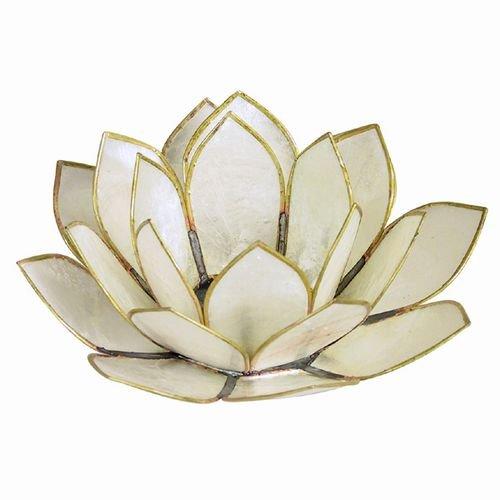 (World Buyers Capiz Tea Light Holder, Three Rings of Translucent capiz Shell Petals-Flickering Light Decor Measures 5