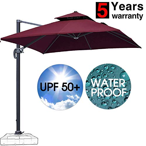 (Patiassy 10 Feet Double Top Square Patio Umbrella Offset Hanging Umbrella Outdoor Market Garden Cantilever Umbrella, 5 Years Non-Fading Fabric + All Aluminum Custom Frame,)
