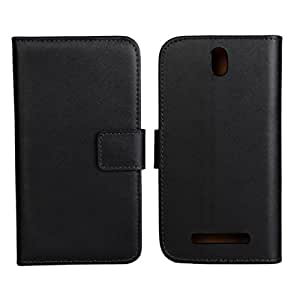 Fashion Premium Genuine Leather Flip Wallet Stand Protective Case Cover for HTC One SV,with Card Slots + High quality Stylus + Winder(Black)Hot Sell
