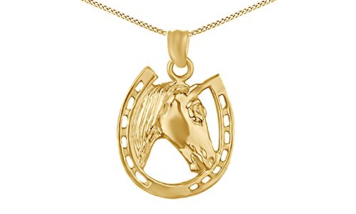 Jewel Zone US 14k Yellow Gold Over Horse face Horseshoe Pendant Necklace Charm ()