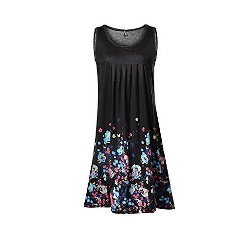 123 Short SYGoodBUY Black Casual Printed Dress Floral Dress Sleeveless Beach Summer Sexy Woman Pleated gIAxdrg