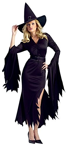 Witches Costumes For Adults (FunWorld Gothic Witch Adult Costume, Black, Medium/Large 10-14)